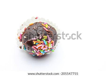 An isolated chocolate ball on white bacdground