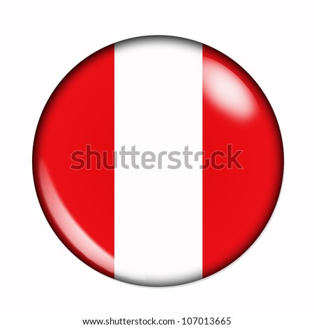 An isolated circular flag of Peru - stock photo