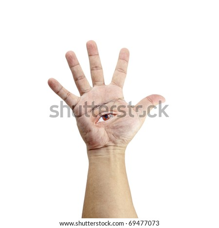 An isolated cutout of a hand with a brown eye on its palm. - stock photo