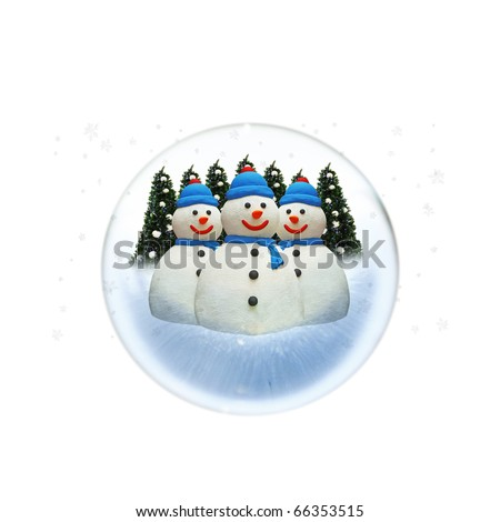 An isolated cutout of a snow globe with tree colorful snowman and a row of green colored Christmas tree. - stock photo
