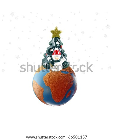An isolated cutout of a Snowman with a Christmas tree on a earth globe with snow flakes falling around it. - stock photo