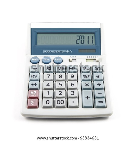 An isolated cutout of a tax financial calculator with the number 2011 on the screen, symbolizing year assessment 2011. - stock photo