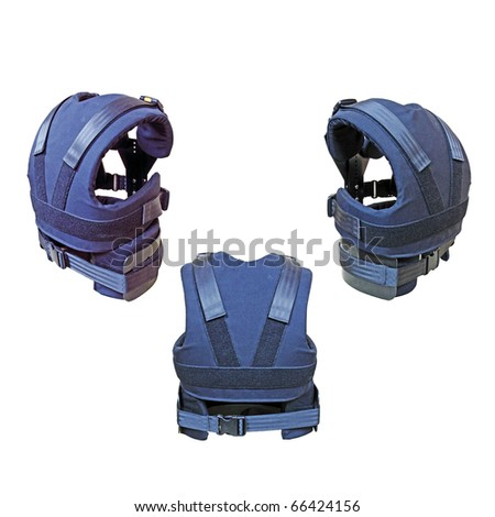An isolated cutout of three blue colored kevlar bulletproof vest. - stock photo