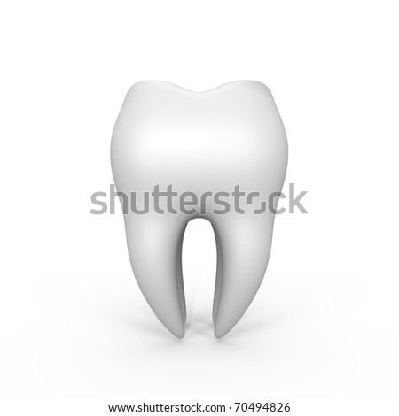 An isolated 3d tooth - a 3d image - stock photo