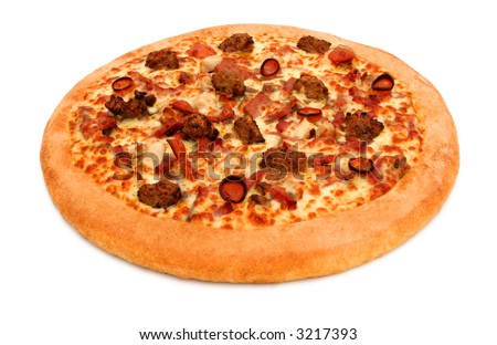 An isolated deep pan fresh hot meat pizza with clipping path
