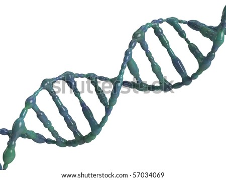 An isolated dna molecule on white background - stock photo