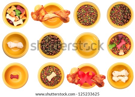 An isolated dog bowls with different dog foods on a white background. - stock photo
