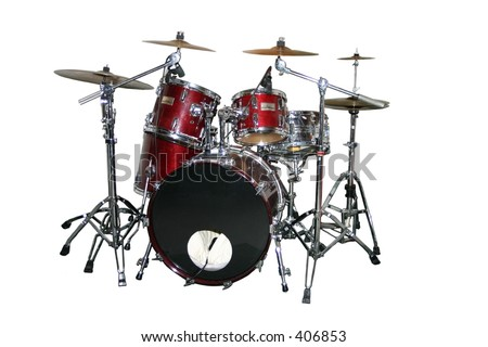 An isolated drum set