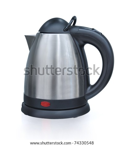 An isolated electric tea kettle on a white background. - stock photo