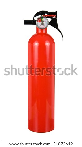 An isolated fire extinguisher on a white background. - stock photo