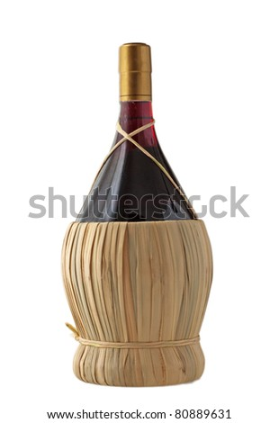An isolated flask of wine over white background - stock photo