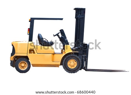 an isolated fork lift truck facing right - stock photo