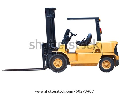 an isolated fork lift truck on white background - stock photo