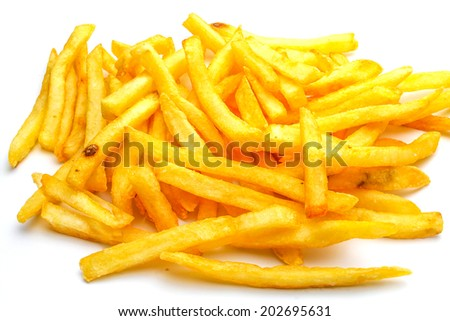 An isolated French fries on white background - stock photo