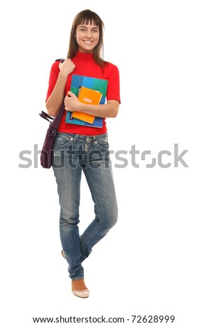 An isolated full length portrait of a beautiful young girl student - stock photo