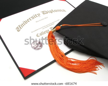 An isolated generic College Diploma with cap and tassel - stock photo