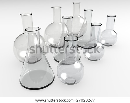 An isolated glass laboratory equipment on white background - stock photo