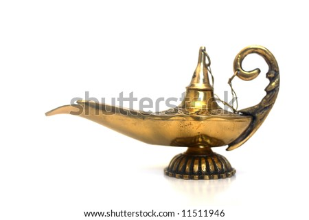 An isolated golden or bronze magic genie lamp, like Aladdins! :) - stock photo