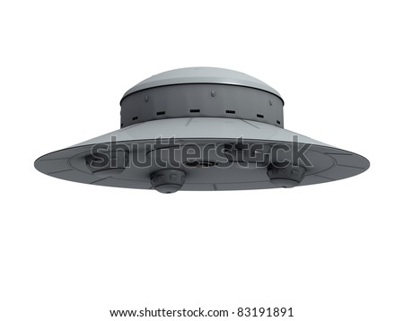 An isolated gray crude ufo with four hemispherical protrusions at the bottom hovering on white background - stock photo