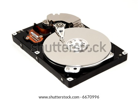 An isolated hard disk drive over white.