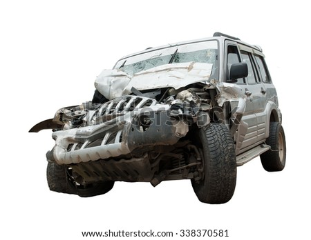 An isolated image of a crashed, wrecked and totalled SUV or jeep. Insurance claims pending!