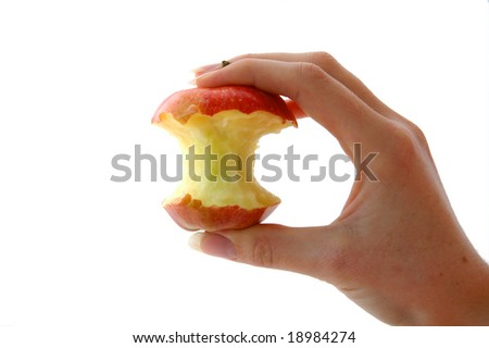 An Isolated image of a half eaten apple - stock photo