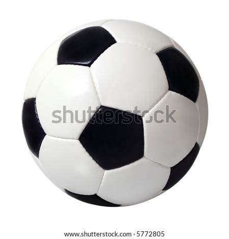 An isolated image of a leather soccer ball. - stock photo