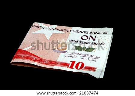 An isolated image of a 10YTL Turkish Lira Note