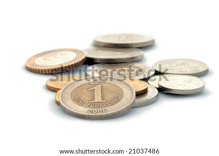 An isolated image of Turkish Lira Coins - stock photo
