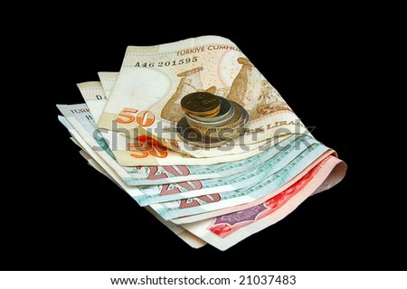 An isolated image of Turkish Lira Coins and folded notes - stock photo