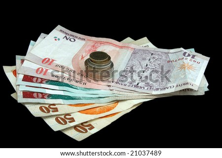 An isolated image of Turkish Lira Coins and notes - stock photo