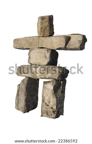 An isolated Inuksuk from Whistler, BC. - stock photo