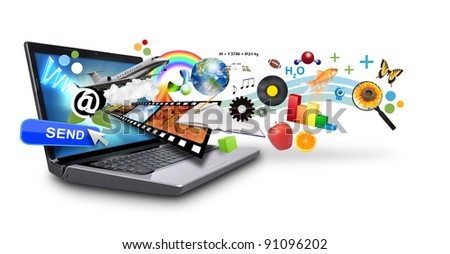 An isolated laptop has many objects projecting out of the screen on a white background. Use it for an email download concept or internet research idea. - stock photo