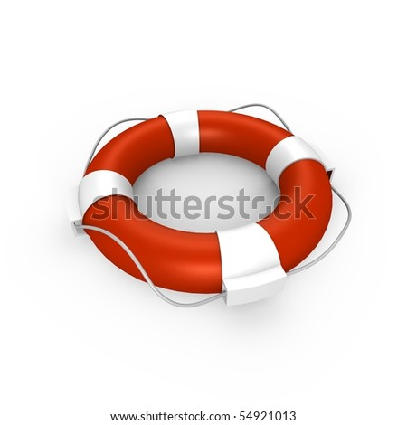 An isolated life buoy - a 3d image - stock photo
