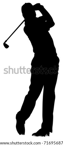 An isolated man playing golf.