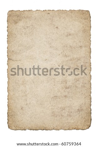 An isolated old grunge paper on a white background - stock photo