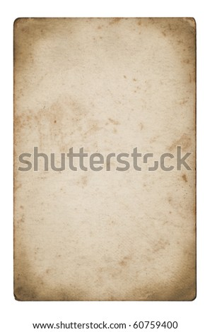 An isolated old grunge paper on a white background