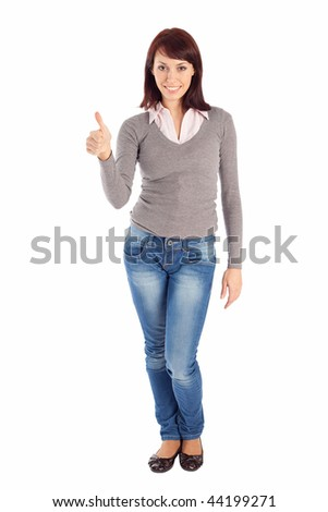 An isolated on white shot of a beautiful young woman showing an OK sign. - stock photo