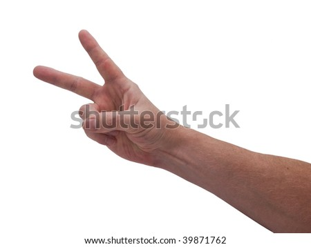 an isolated over white caucasian man's hand displaying the Victory hand gesture.