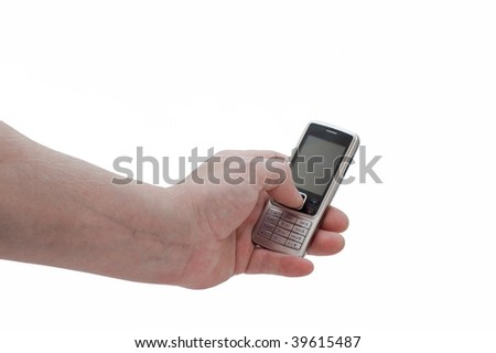 an isolated over white man's hand using a mobile phone.