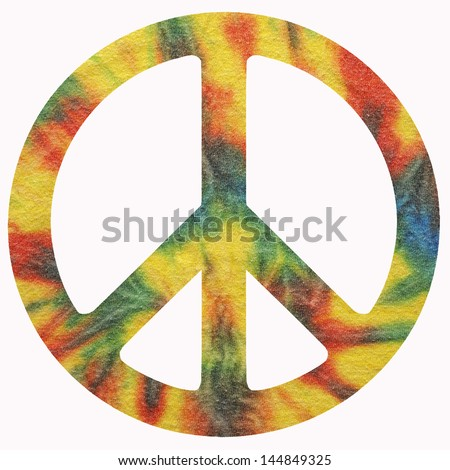 An isolated peace symbol using tye dye background.