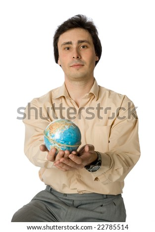 An isolated photo of a man with a globe