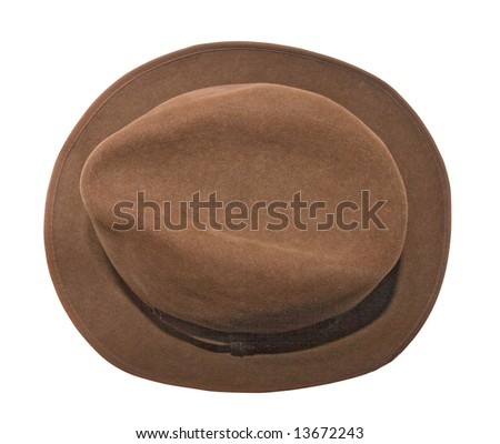 An isolated photo of a woman brown hat, view from above - stock photo
