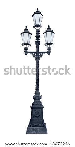 An isolated photo of an old lamppost in Saint-Petersburg, Russia