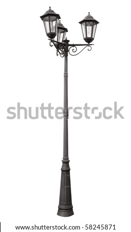 An isolated photo of an old street lamppost - stock photo