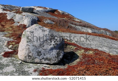 An isolated piece of coastal rock - stock photo