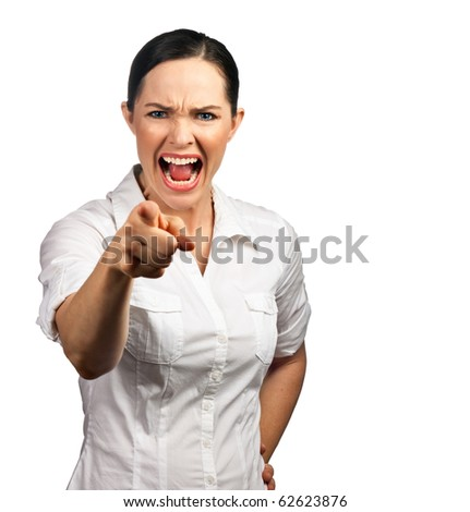 An isolated portrait of an angry business woman or boss screaming and pointing her finger - stock photo