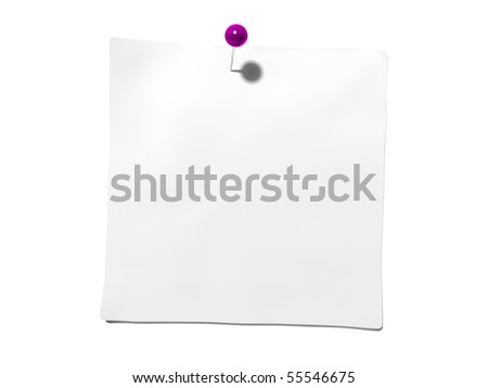 An isolated post it note with a pin - stock photo