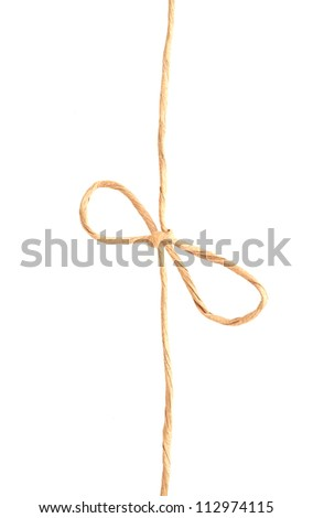 An isolated recycled knot rope - stock photo