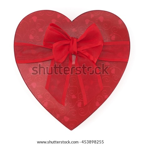 An isolated red heart gift on a white background.